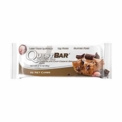 Quest Nutrition Protein Bar, Chocolate Chip Cookie Dough, 21g Protein, 4g Net Carbs, 190 Cals, High Protein Bars, Low Carb Bars, Gluten Free, Soy Free, 2.1 oz Bar, 12 Count