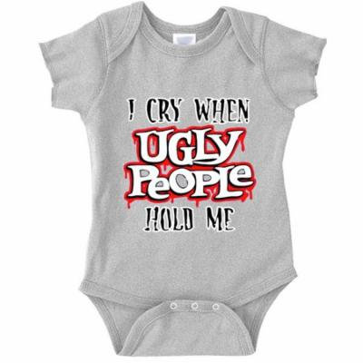 New Way A004 - Infant Baby Onesie Bodysuit I Cry When Ugly People Hold Me 24M Heather Grey