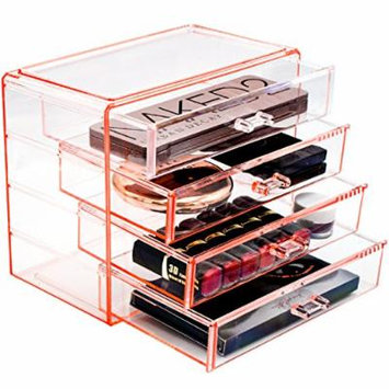 Sorbus Acrylic Cosmetics Makeup and Jewelry Storage Case Display– 4 Large Drawers Space- Saving, Stylish Acrylic Bathroom Case Great for Lipstick, Nail Polish, Brushes, Jewelry and More (Pink)