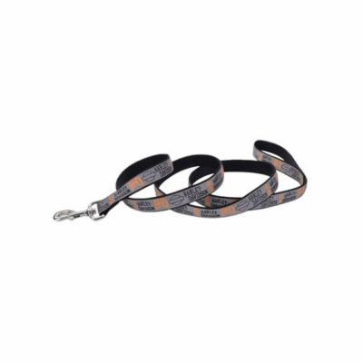 Harley-Davidson 1 in. Ribbon Bar & Shield Nylon Leash - 6 ft. Gray H6976HHLG06, Harley Davidson
