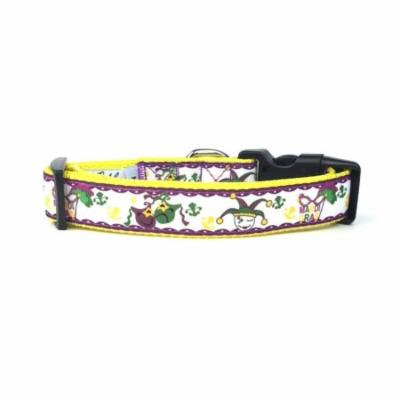 Large Mardi Gras Jester Nylon Ribbon Dog Collar by Midlee