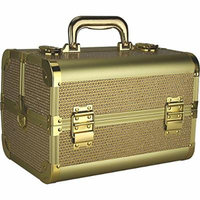Ver Beauty Vk1302 Trays Makeup Train Case with Shoulder Strap and Lock, Gold Krystal