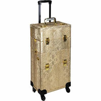 Ver Beauty 2-in-1 Hair Stylist Organizer Makeup Professional Rolling Case, Python Gold