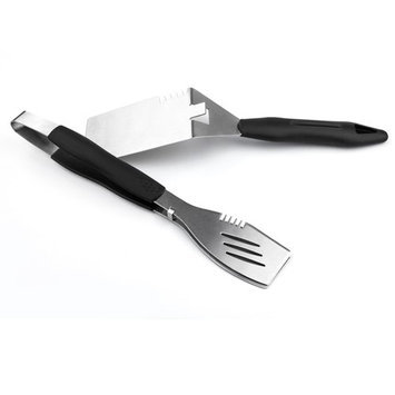 Sun Peak 2-Piece Stainless Steel Grill Tool Set BBQ Spatula and Tongs Tool Set