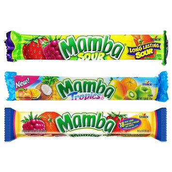 Set of 3 Mamba Long-Lasting Vegan-Friendly Chewy Taffy Candy! - Features Three Themes Including Sour, Fruity, and Tropical! - 2.65oz Per Bar - 18 Individually Wrapped Taffy Candies Per Bar!