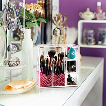 Clear Clamshell Acrylic Pearl Box Cosmetic Makeup Organizer Cotton Eyeliner Brush Jewelry Lipstick Storage