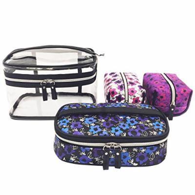 IZAK 4-Piece Cosmetic Bag Set (Multi-Color Floral)