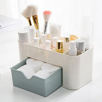 Saving Space Desktop Comestics Makeup Storage Drawer Type Box makeup organizer make up - BLUE