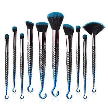 10PCS Unique gradient blue black hook shape Makeup Brushes Cosmetic Powder Foundation Makeup Kit Eyebrow Eyeliner Make up Tool