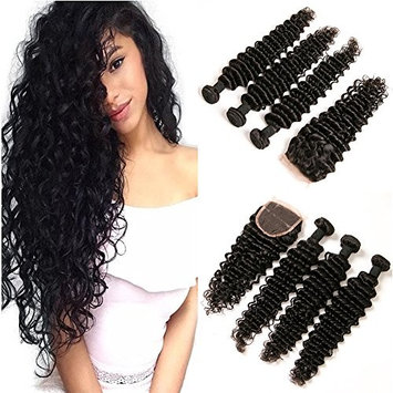 DAIMER 3 Bundles Peruvian Deep Wave Virgin Hair Extensions 10A Peruvian Human Hair Weave Cheap Peruvian Curly Virgin Hair Can be Dyed and Bleached (10 12 14)