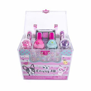Hot Focus Carry All Cosmetic Set - 20 Piece Best Pals Makeup Set for Girls Includes, Non-Toxic Nail Polish, Press on Nails, Glitter Eyeshadow, Tinted Lip Balms, Glitter and Carrying Case