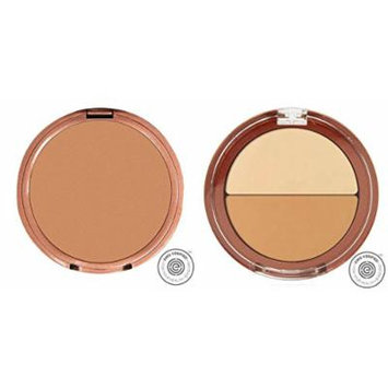 Mineral Fusion Pressed Powder Foundation Olive 3 and Mineral Fusion Compact Concealer Duo Warm Shade Bundle with White Tea Leaf Extract and Shea Butter, 0.32 oz. and 0.11 oz. each