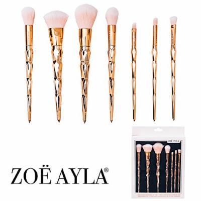 Zoë Ayla Makeup Brush Set Premium Unicorn 7 Piece Synthetic Make Up Brushes in Rose Gold, Face Blending Blush Concealer, Eye Shadows Liquid Silver Powder Cream Cosmetics Kit, Eyeliner Foundation Lip