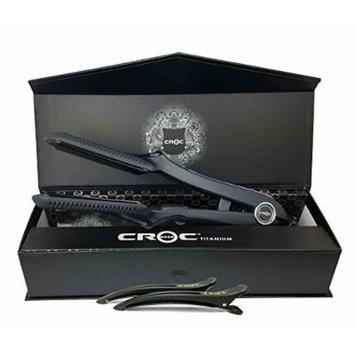 Croc Classic Flat Iron 1.5 Black Titanium Turboion Digital Straightener Hair Iron Set Includes 2 Tion Silicon Hair Clips