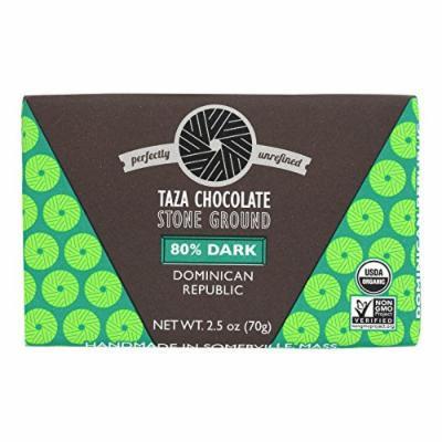 Taza Chocolate Stone Ground Organic Dark Chocolate Bar - 80 Percent Dark Dominican Republic Cacao - Case of 10 - 2.5 oz