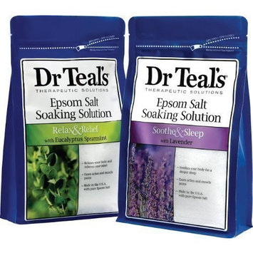 Dr. Teal's Epsom Salt Soaking Solution Bundle - 2 Relax & Relief Eucalyptus Spearmint 3lbs and 2 Sooth & Sleep Lavender 3lbs by Dr. Teal's