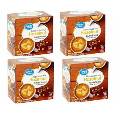 Great Value Hazelnut Cappuccino Mix Single Serve Cups, 0.53 oz,18 count (Pack of 4 )