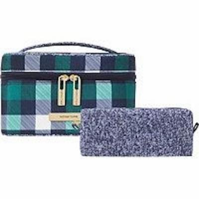 Trina Tartan + Twine Two Piece Train Case Gwynn Check Green Plaid Cosmetic Bag