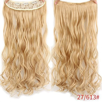 3/4 Full Head Curly Wavy Clips in on Synthetic Hair Extensions Hairpieces for Women 24