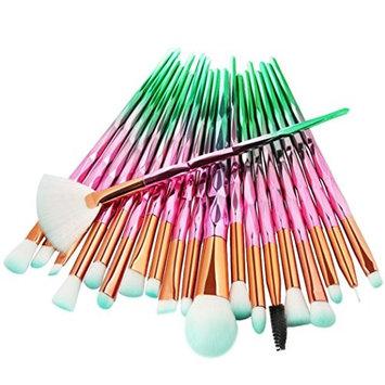 Travel Makeup Brush Set 20Pc Makeup Brushes Set Powder Foundation Eyeshadow Eyeliner Lip Cosmetic Brush (A)