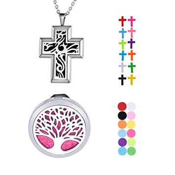 1 Set VALYRIA Cross and Tree of Life Aromatherapy Essential Oil Diffuser Necklace Stainless Steel Locket Pendant with 11 Refill Pads