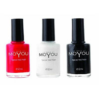 MoYou Nails Nail Polish bundle of 3: Black, Red and White Colours used for Stamping Nail Art