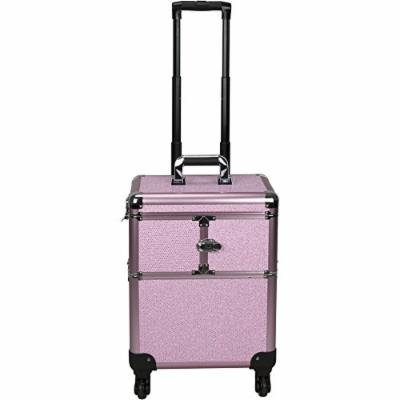Sunrise Interchangeable 3-tiers Accordion Trays Professional Rolling Aluminum Cosmetic Makeup Train Organizer Storage Case, Pink Krystal