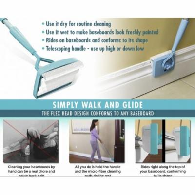 Baseboard Buddy,Multiuse Cleaner Flexible Cleaning House Kitchen Tool Cleaning Brush,As Seen On TV