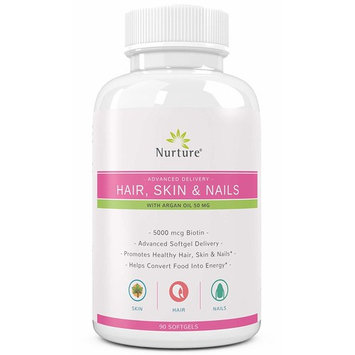 Advanced Hair Skin & Nails with Argan Oil | Hair Growth, Glowing Skin, and Strong Nails - 5000 mcg Biotin - Advanced Softgel Delivery - 90 Count