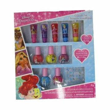 Disney Girls Multi Color Non Toxic Princess Nail Polish Lip Gloss Set