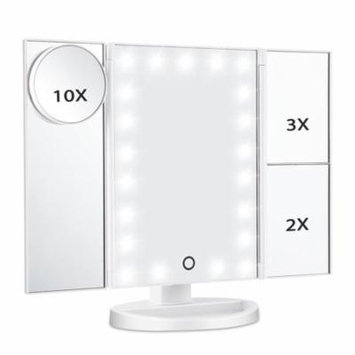 Led Lighted Makeup Mirror, Magicfly 10X 3X 2X 1X Magnifying Mirror 21 LED Tri-Fold Vanity Mirror with Touch Screen White