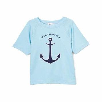 Azul Baby Boys Light Blue Anchors Aweigh Short Sleeve Rash Guard