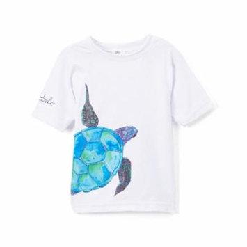 Azul Baby Boys White Aqua Sea Turtle Short Sleeve Rash Guard