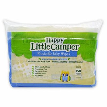 Happy Little Camper Flushable Baby Wipes, 3 packs of 50 (150 ct)