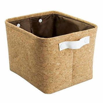 Quinn Bathroom Storage Bin for Towels, Shampoo, Cosmetics - Medium, Cork/White
