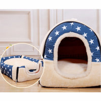 Blue Warm Winter Pet House for Small Dogs/Cats, Removable Cushion Pet Beds for Puppy, Bottom 600D Anti-Slip Drip Cloth Indoor/Outdoor Pet Cushion for Animals(Outside: 35X30X28CM)