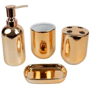 Home Basics 4-Piece Bath Accessory Set in Copper