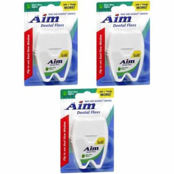 Aim 120 yds Mint Wax Dental Floss 100 + 20 yds Nylon against Cavity (3 packs)