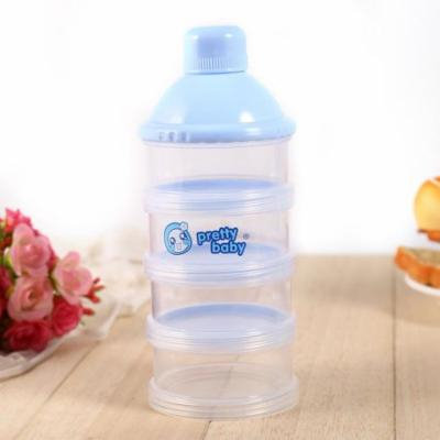 4 Layers Portable Infant Baby Milk Powder Formula Dispenser Multi-function Snack Pot Feeding Case Box Container,Blue