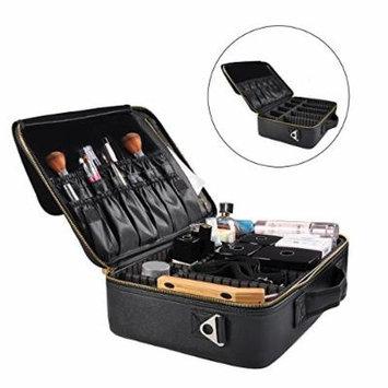 Portable Travel Makeup Bag, Waterproof Makeup Train Case Cosmetic Organizer Kit Artists Storage for Cosmetics, Makeup Brush Set, Toiletry And Travel Accessories(Medium,Black)