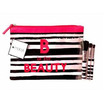 Macy's Fabric Makeup Bag & Matching 3 Piece MINI Makeup Brush Set