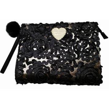 Betsey Johnson Black Floral Applique Clutch Cosmetic Case