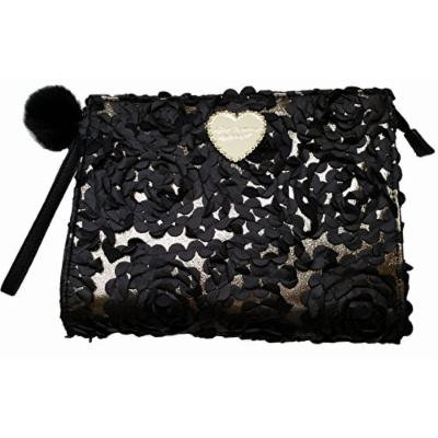 Betsey Johnson Black Floral Applique Clutch Cosmetic Case