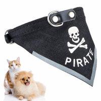 Pet Bandana Collar Adjustable Artificial Leather Dog Scarf Collar Dog Bandana for Dog Cat (Black)