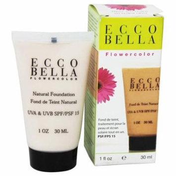 Ecco Bella - FlowerColor Natural Liquid Foundation Ivory Porcelain 15 SPF - 1 oz. (pack of 4)