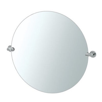 Gatco Channel 30 in. x 25 in. Frameless Single Large Round Mirror in Chrome