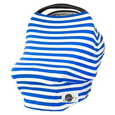 JLIKA Baby Car Seat Covers Stretchy Infant Canopy and Nursing cover for breastfeeding newborns infants babies girls boys best shower gift maternity apron infinity scarf carseats! (Royal White Stripe)
