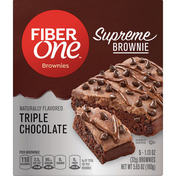 Fiber One Supreme Brownie Triple Chocolate 5Ct Carton, 5.65 oz