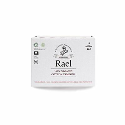 Rael 100% Certified Organic, Non-Chlorine Bleached Non-Applicator Tampons, REGULAR (18 Total) (2 Packs) ?