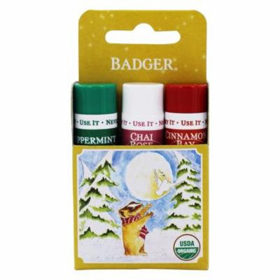 Badger - Organic Classic Holiday Lip Balm Gold Box Cinnamon Bay, Peppermint, Chai Rose - 3 Pack (pack of 4)